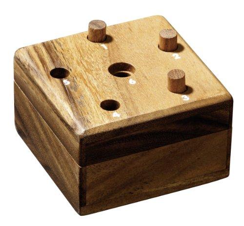 Philos 6336 - Würfelfass, Würfelspiel aus Samena Holz, Super Six, sechs raus, mit Würfel und Spielstäbchen