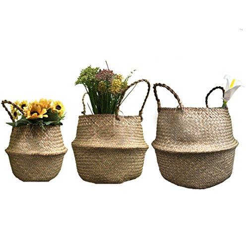 GOODCHANCEUK 3er Set Wäschekorb Faltbar Seegras Blumenkorb Handgewebt Blumen Stroh Korb für Pflanze Blumentopf mit Griffen