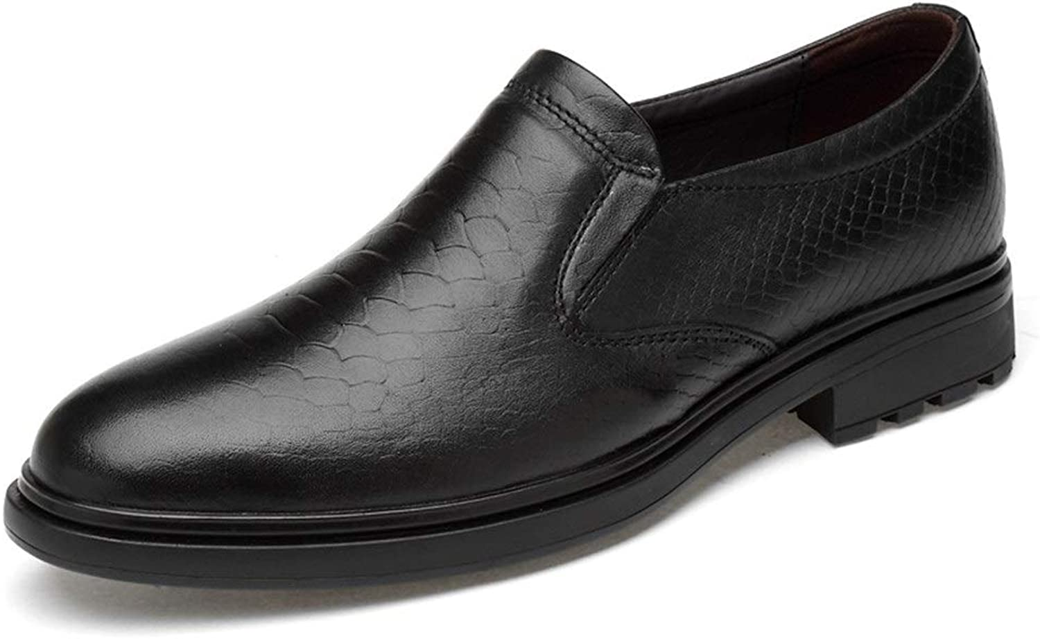 Easy Go Shopping Embossed Oxford shoes For Men Genuine Leather Business Dress Loafers Anti-slip Low Heel Slip-on Round Toe Cricket shoes (color   Black, Size   8 UK)