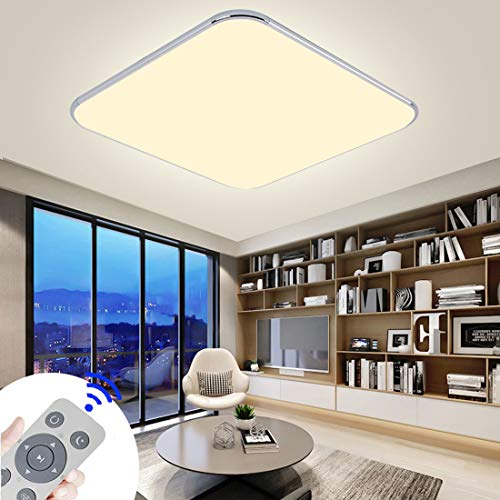 CASNIK LED Deckenleuchte 36W Modern Dimmbar Deckenlampe Ultraslim Schlafzimmer Küche Flur Wohnzimmer Lampe Energie Sparen Licht (36)