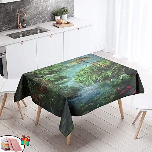Morbuy Nappe Anti Tache Rectangulaire,Imperméable Étanche à l'huile 3D Imprimé Carrée Couverture de Table Lavable pour Ménage Cuisine Jardin Picnic Exterieur (Vert Feuille De Lotus,90x90cm)