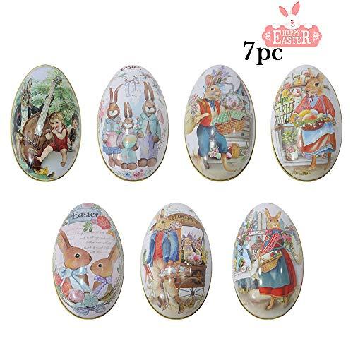 Treer 7 Pezzi Uova di Pasqua, Decorazione di Pasqua a Motivi Uovo Coniglietto Giardino Diversi Colori Decorazione Artigianato Scatola Rotonda di Latta (L,Scatola di Caramelle)