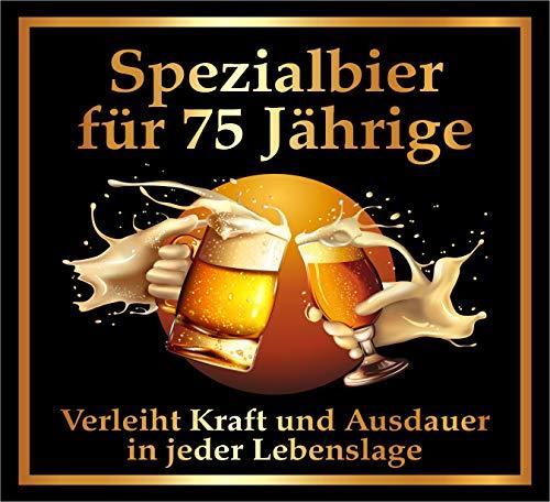 RAHMENLOS 3 St. Aufkleber zum 75. Geburtstag: Spezialbier für 75 Jährige - Selbstklebendes Flaschen-Etikett. Original Design