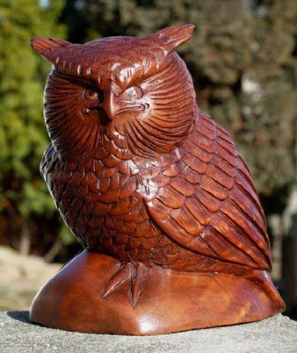 Mooie grote uilen houten dier grijp vogel kautz uhu uil 14XL