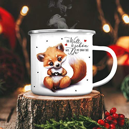 Wandtattoo Loft Emaille Campingbecher Fuchs Die Welt ist schön, Weil Du mit Drauf bist Kaffeebecher Tasse/schwarzer Becherrand