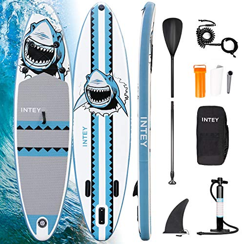 INTEY Tabla Paddle Surf Hinchable 305×76×15cm, Sup Paddle Remo Ajustable, Tabla Stand Up Paddle Board, Bomba de Doble, Seguridad - Modelo de Tiburón