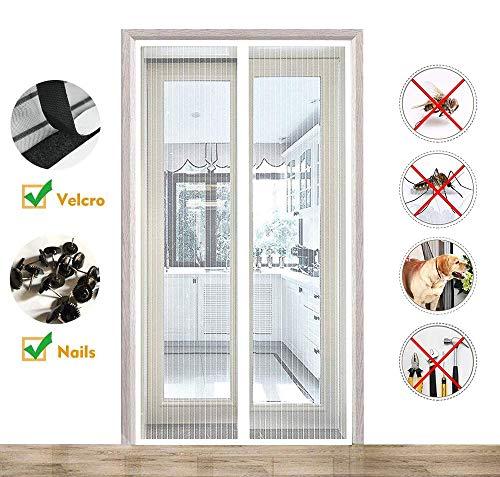 CHENG Magnet Fliegengitter Balkontür 175x225cm, AutomatischesSchließenInsektenschutzfür Insektenschutz Klebemontage Ohne Bohren für Flure/Türen/Windows, Weiß