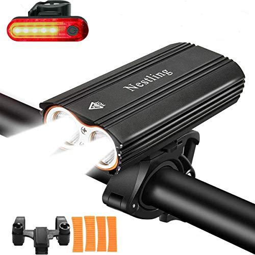 Nestling Luzde Bicicleta,Luz Bicicleta LED Recargable USB con 2400 Lúmenes 4 Modos,Luces Bici Delantera and LED Luces Trasera Kit,Luz LED Bicicleta para Carretera y Montaña-Seguridad para la Noche