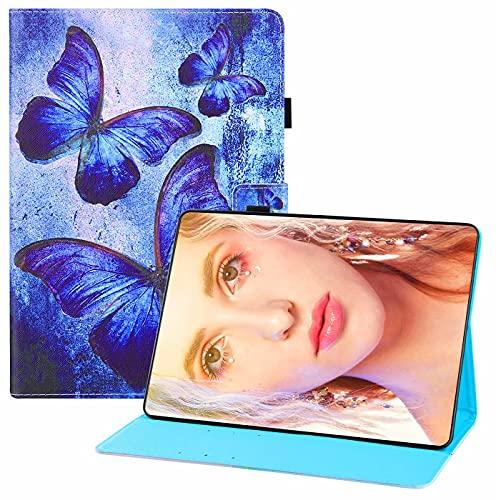 CRABOT Funda para Samsung Galaxy Tab A 10.5/T590/T595,Cuero PU Cartera Estilo de Libro Carcasa Función de Soporte,Patrón Animal con Auto-Sueño/Estela Funda para Samsung Tab A 10.5-Azul Mariposa