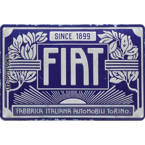 Nostalgic-Art 22321 Retro Blechschild Fiat – Since 1899 Logo Blue – Geschenk-Idee für Auto Fans, aus Metall, Vintage-Design zur Dekoration