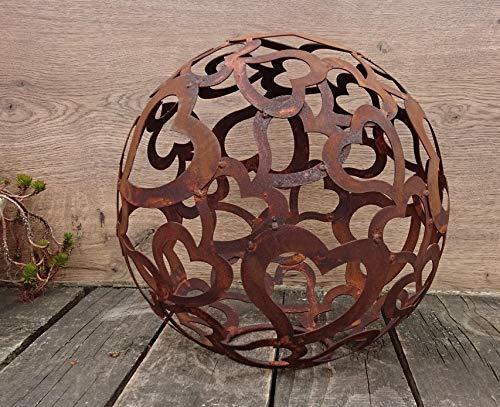 terracotta-toepfe-de Boule de 30 cm en métal patiné - Cœur - Boule à rayures - Fer - Décoration de jardin - Mariage - Valetin - Noël - Avent, fête des mères