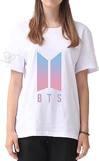 Silver Basic M/ädchen Kpop BTS Love Yourself Cartoon T-Shirt Kurzarm Tops mit Rundausschnitt