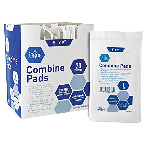 Medpride Sterile Abdominal- ABD Combine Pads| 20-Pack, 5 x 9 Inches| Extra Absorbent & Thick, Individually Wrapped Wound Dressing, First Aid Pads| Surgical-Grade, Nonstick- for Heavy Leakage, Post Op