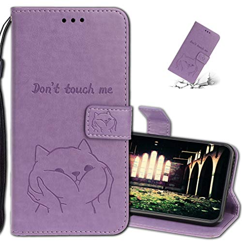 Preisvergleich Produktbild MRSTER Handyhülle für Samsung Galaxy A20s,  Leder hülle für Samsung A20s Flip Geldbörse Schutzhülle mit Kreditkarten,  Ständer,  Magnetverschluss für Samsung Galaxy A20s. XC Dog Purple
