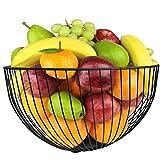 DMAR Frutero Frutera Metal Negro Cesta de Frutas Frutera 25x14 cm Fruteros Moderno Cesto de Fruta Fruit Bowl Fruteros de Cocina