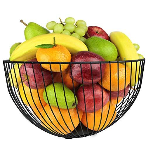 DMAR Portafrutta Metallo Fruttiere 25 x 14 cm Nero Grande Cesto di Frutta in Ferro Cestini per Frutta Moderno Porta Frutta da Tavolo
