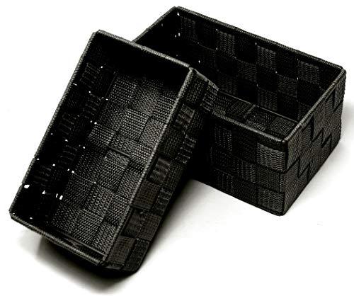 Lashuma 2 Stück Aufbewahrungskörbchen, Korb Größen: 19 x 10 x 7 cm und 20 x 13 x 10 cm, Stapelbare Badkörbchen Farbe: Schwarz