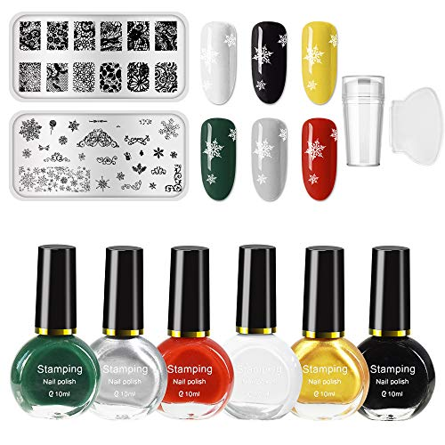 Ownest 6 Colors Nail Art Stamping Polish Kit,Colourful Manicuring Plate Printing Polish Varnish 10ML,With 2 Manicure Nail Stamping Design Plates,1 Clear Nail Stamper