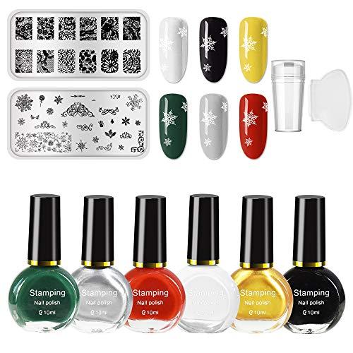 Freeorr 6 Farben Nail Art Stamping Polish Kit, Drucklack Nagelplatte Lack für Maniküre Druck 10ML, mit 2 Maniküre Nail Stamping Design Platten, 1 Clear Nail Stamper