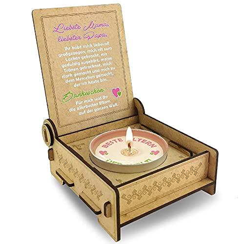 Candle IN THE BOX Eltern, Dankeschön für die besten Eltern der Welt, Geschenkidee Mama und Papa Holz, Hochzeitstag Geschenk, Kerze Familie, zuhause