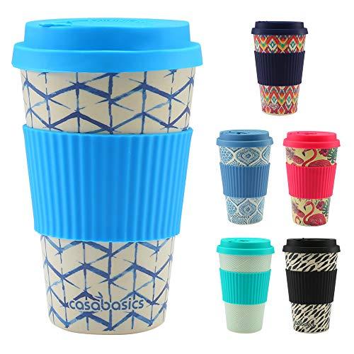 CasaBasics Taza de Café para Llevar en Bambú | Reutilizable, Biodegr