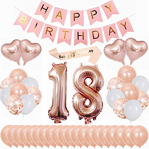 Kiwochy 18 Geburtstag Dekoration DIY Ballongirlanden Kit Happy Birthday Banner 40