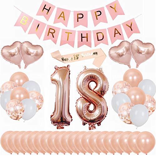 Kiwochy 18 Geburtstag Dekoration DIY Ballongirlanden Kit Happy Birthday Banner 40