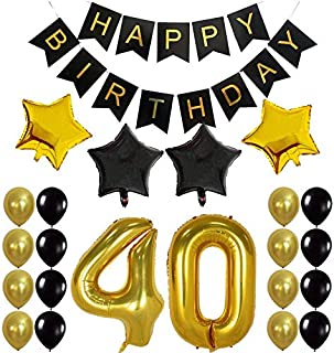 40th BIRTHDAY PARTY DECORATIONS KIT - 35pcs/pack Happy Birthday Foil Balloons, 40 Number Balloon Gold, Balck Gold and Whit...