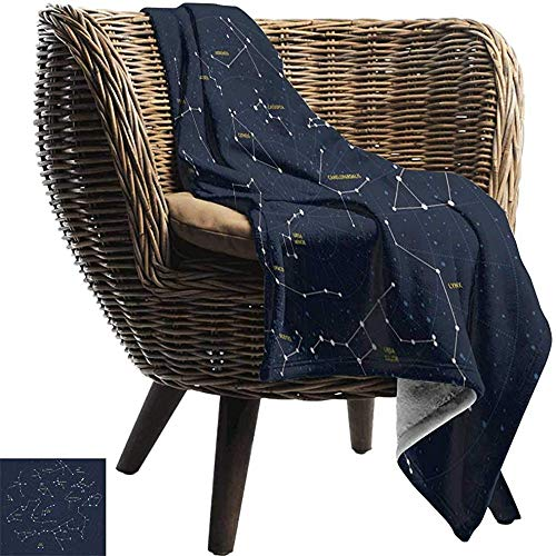 Ducan Lincoln Blanket Fell Flanell Fleece Decke Constellation,Himmelskarte Andromeda Lacerta Cygnus Lyra Herkules Draco Stiefel Lynx,Dunkelblau Weiß Warme Decke,127x102 cm