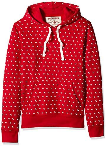 True Religion Men's Long Sleeve Monogram Print Hoodie, Ruby red, L