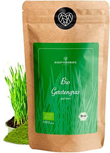 BIO Gerstengras Pulver - 100% reines Gerstengraspulver aus Deutschland - Rohkostqualität - kontrolliert und abgefüllt in Deutschland, Rückstandskontrolliert (DE-ÖKO-39) | 80DEGREES (250g)