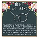 Best Friend Necklace - Heartfelt Card & Jewelry Gift for Birthday, Holiday, More (2 Interlocking Circles Silver)