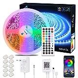 ALED LIGHT 10M 5050 RGB 600 LED Luces de Tira Cambiantes de Color con 44K Mando a Distancia IR + Adaptador de Corriente de 24V para El Hogar y La cocina Iluminación Decorativa