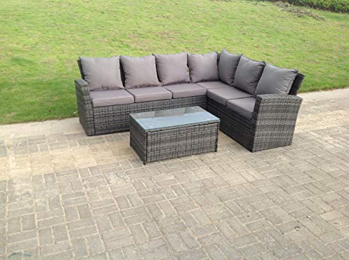 Fimous 6 Seater High Back Grey Rattan Corner Sofa Set Oblong Coffee Table...