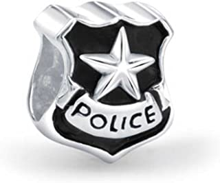 Serve Protect Officer Badge Police Shield Bead Charm For Women 925 Sterling Silver Fits European Bracelet