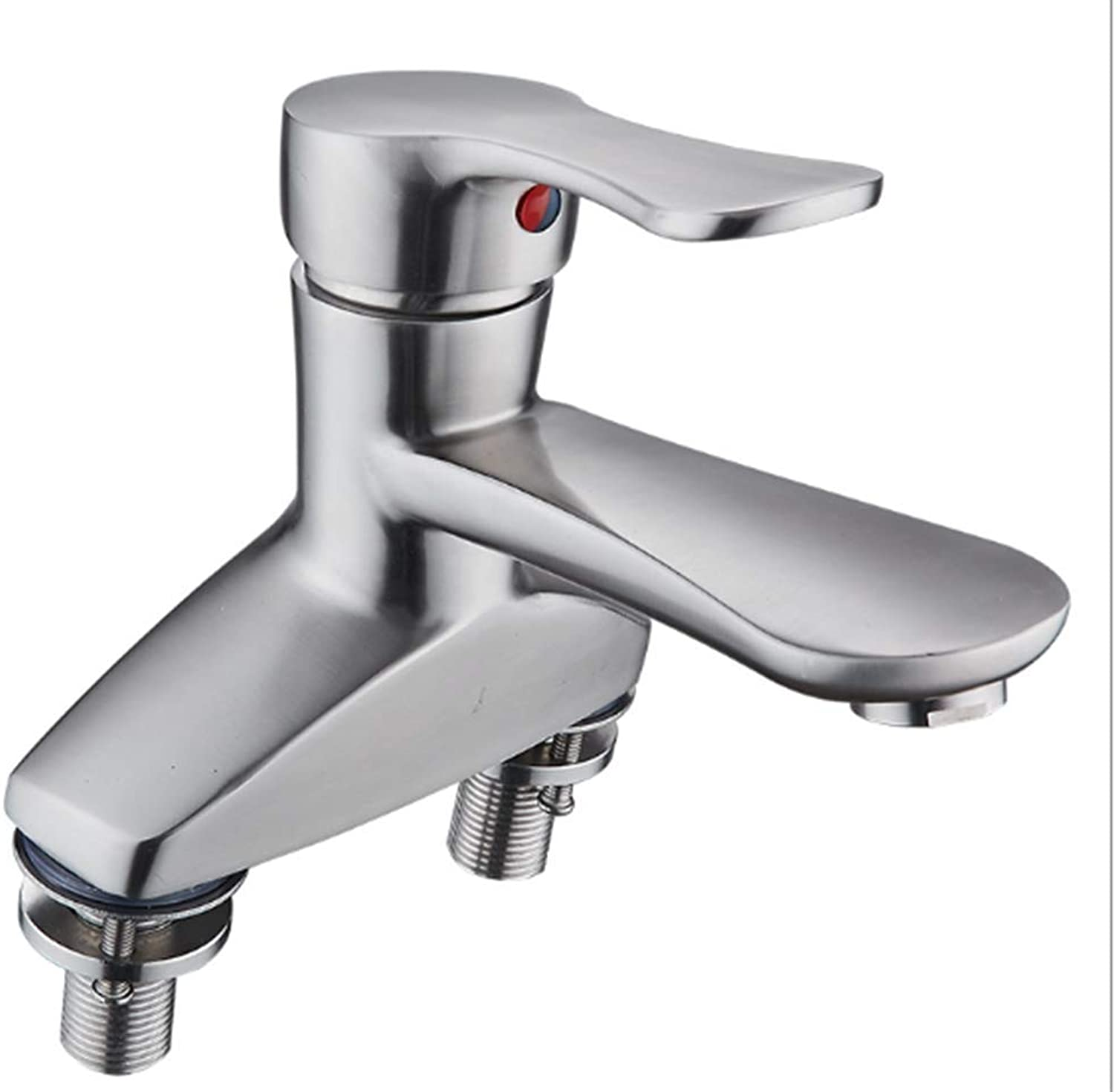 Ldoons Kitchen bathroom stainless steel hot and cold basin bathroom three holes A faucet