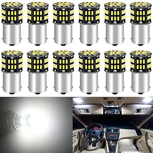 ALOPEE 12-Pack 1156 BA15S 7506 1141 1003 1073 Blanc 6500k LED Lumière 12V-DC, 3014 54 SMD Remplacement De Voiture Pour L'intérieur RV éclairage Camper Clignotants Feu Arrière BackUp Bulbs