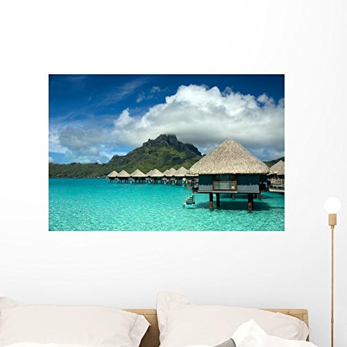 Wallmonkeys FOT-3444987-36 WM228066 Overwater Bungalow Bora Peel and Stick Wall Decals (36 in W x 24 in H), Large