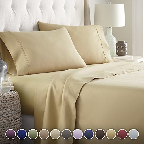 Hotel Luxury Bed Sheets Set Today! On Amazon Softest Bedding 1800 Series Platinum Collection-100%!Deep Pocket,Wrinkle & Fade Resistant (Twin, Camel)