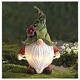 Yuemei Garten Zwerg Statue Gartenfigur, die Reifen mit Solar LED Lichtern spielt, Harz Zwerg Statue Gnom Figuren Ornament für Bienentag Weihnachten Thanksgiving Garten Rasen Veranda Terrasse (A)