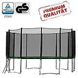 Baunsal GmbH & Co.KG Gartentrampolin Trampolin 487 bis 490 cm in grün mit Sicherheitsnetz und...