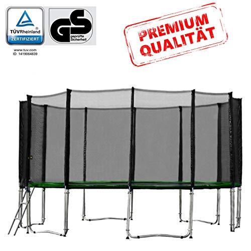 Baunsal GmbH & Co.KG Gartentrampolin Trampolin 487 bis 490 cm in grün mit Sicherheitsnetz und Einstiegsleiter
