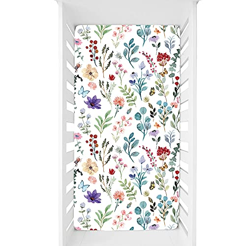 Baby Fitted Crib Sheet Soft and Breathable for Standard Crib and Toddler Mattresses, White Watercolor Floral, for Boys and Girls