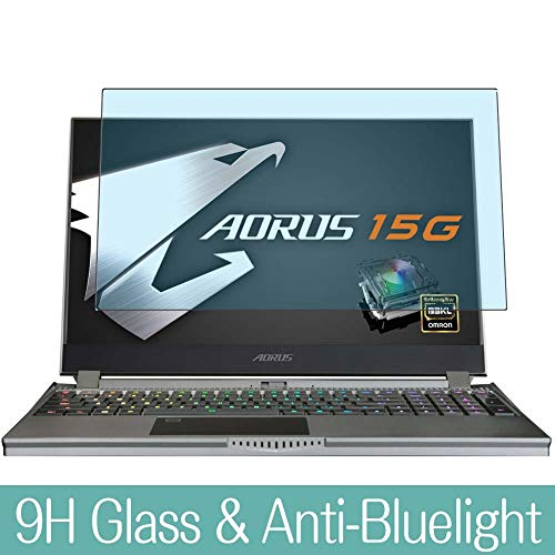 Synvy Anti Blue Light Tempered Glass Screen Protector Compatible with GIGABYTE AORUS 15G XB-8JP2130MP 15.6' Visible Area 9H Protective Screen Film Protectors (Not Full Coverage)