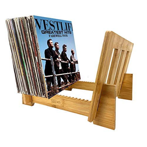 CUBE TECH Vinyl Record Storage Holder Bamboo Display Stand Store Rack for 1 to 50+ LP Music Albums Display and LPs in This Modern Portable Rack Unit, Can Also be Used for Books, Magazines, etc.