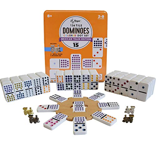 Regal Games Double 15 Colored Dot Dominoes Mexican Train Game Set with Wooden Hub, 136 Domino Tiles, 8 Metal Trains, and Collectors Tin