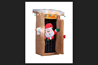 Gemmy Christmas Inflatable 6 FT Tall Animated LED Lighted Outhouse Santa Outdoor Yard Prop