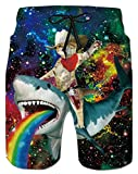 Mesh Liner Board Shorts for Men Funny Cat Shark Animal Graphics Swim Trunks 80s Youth Male Summer Stylish Rainbow Hawaiian Beach Boardshorts with 2 Pockets Holiday Sports Bathing Suits, Galaxy XL