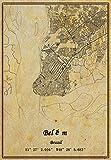 Leinwanddruck Brasilien Belém Landkarte, Vintage-Stil, ungerahmt, Dekoration, Geschenk, 45,7 x 61 cm