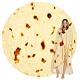 Burritos Tortilla Throw Blanket, Tortilla Wrap Blanket, Novelty Tortilla Round Blanket Giant Tortilla Round Soft Blanket for Adults and Kids